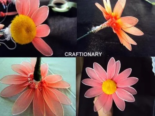 how-to-make-stocking-net-nylon-flower-daisy-tutorial-instuctions