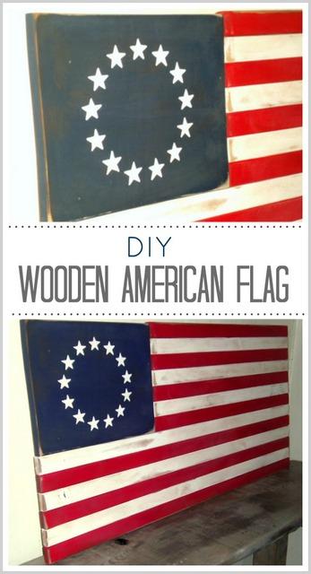 painted wooden american flag
