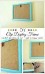 DIY clothespin display frame