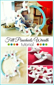 DIY felt pinwheels wreath tutorial