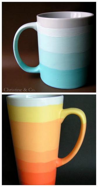 DIY ombre mugs