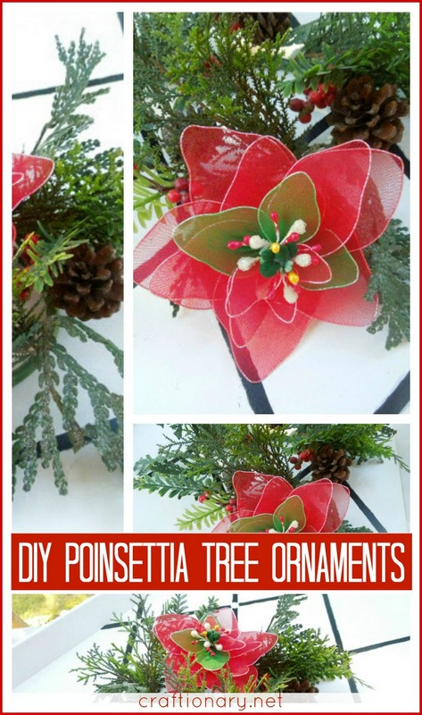 DIY poinsettia ornaments