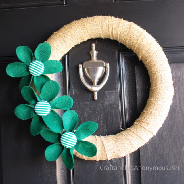 green flower wreath