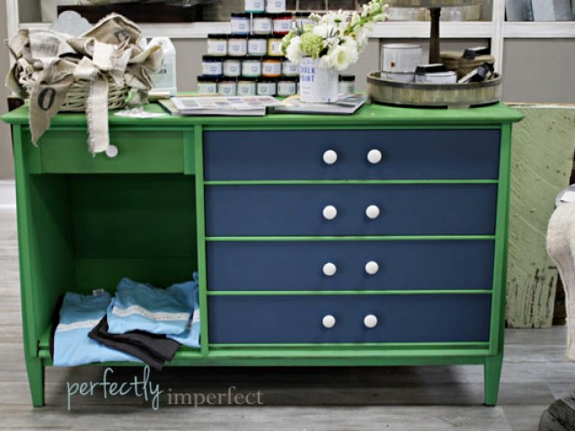green chalkboard painted furniture