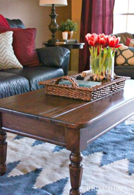 polished coffee table