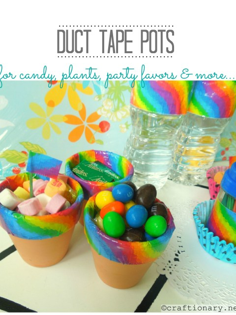 duct tape vases, jars, pots