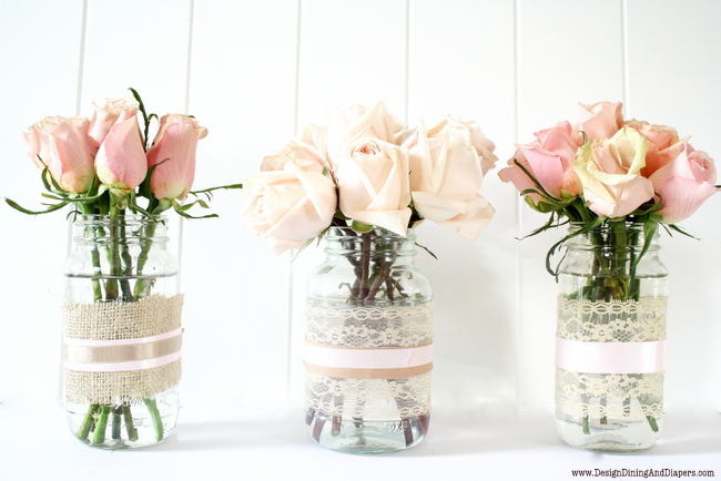 lace covered vases