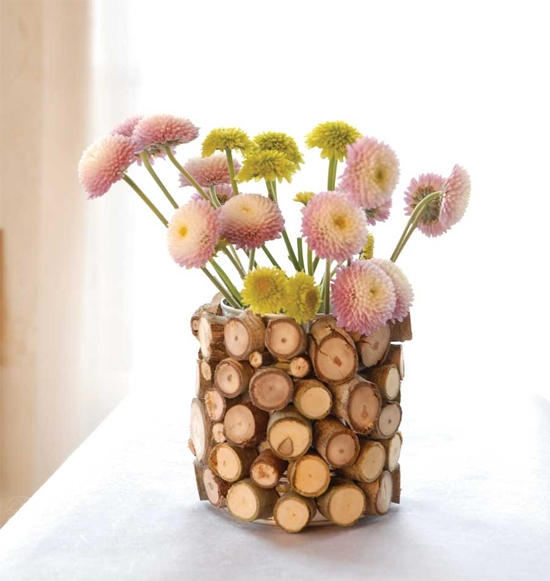 wood flower vases