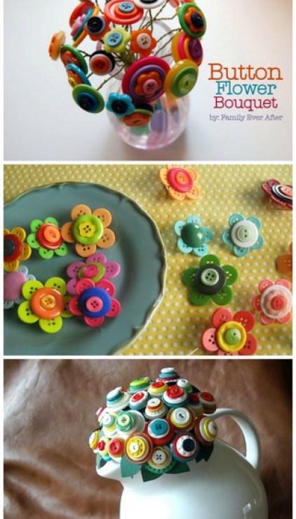 button DIY flowers bouquet