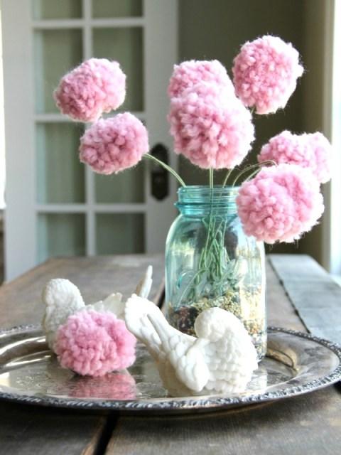 pom pom flowers mom