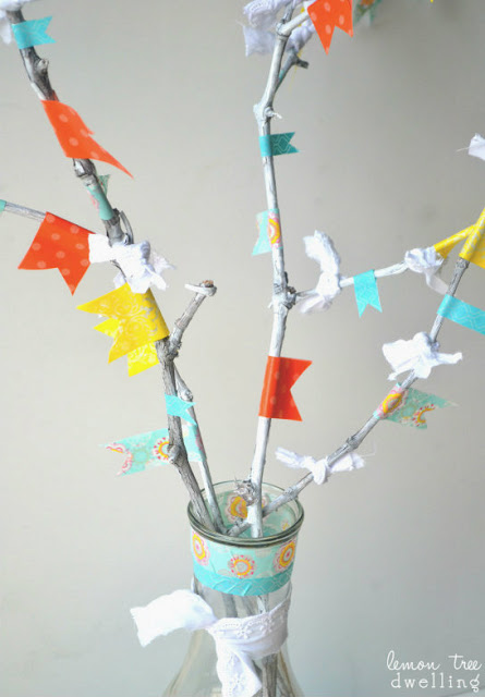 spring twig washi tape tree