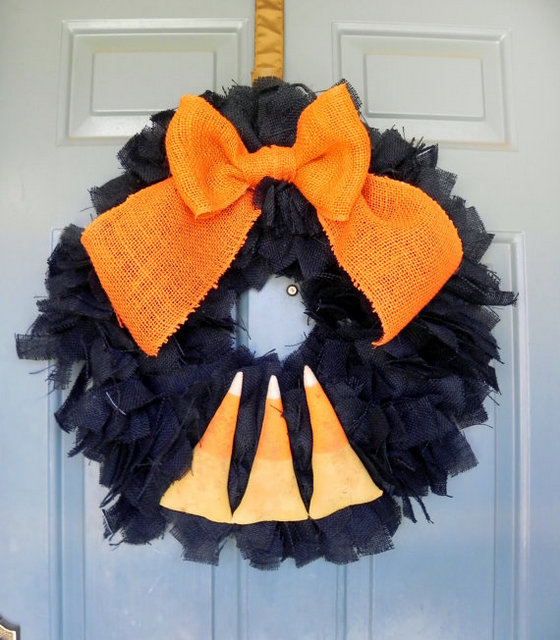 black candy corn wreath tutorial