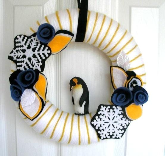 penguin yarn wreath