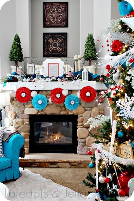 pinwheels Christmas Mantel