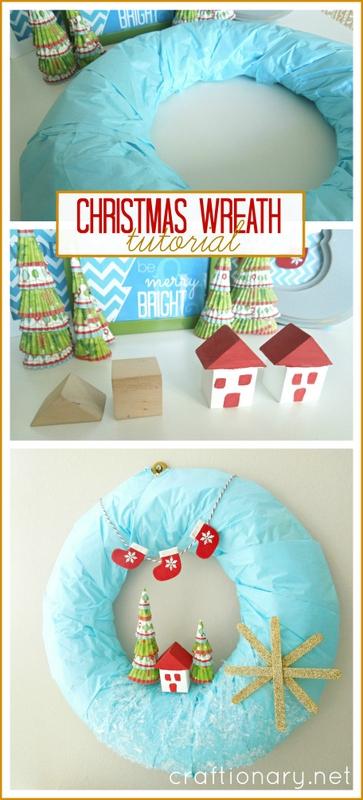 DIY winter Christmas wreath tutorial