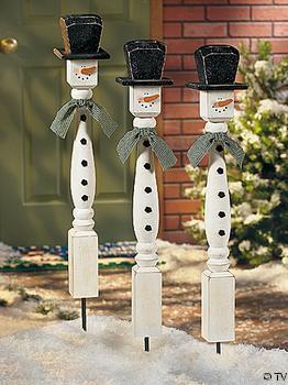 DIY spindle snowman