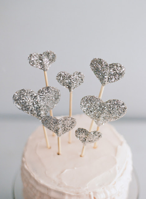 glitter hearts cake toppers