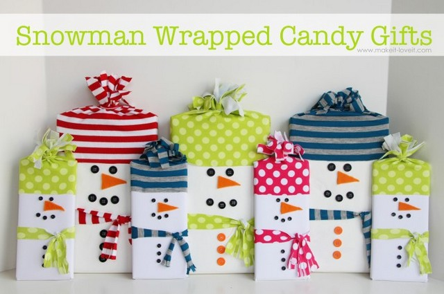 snowman wrapped gifts