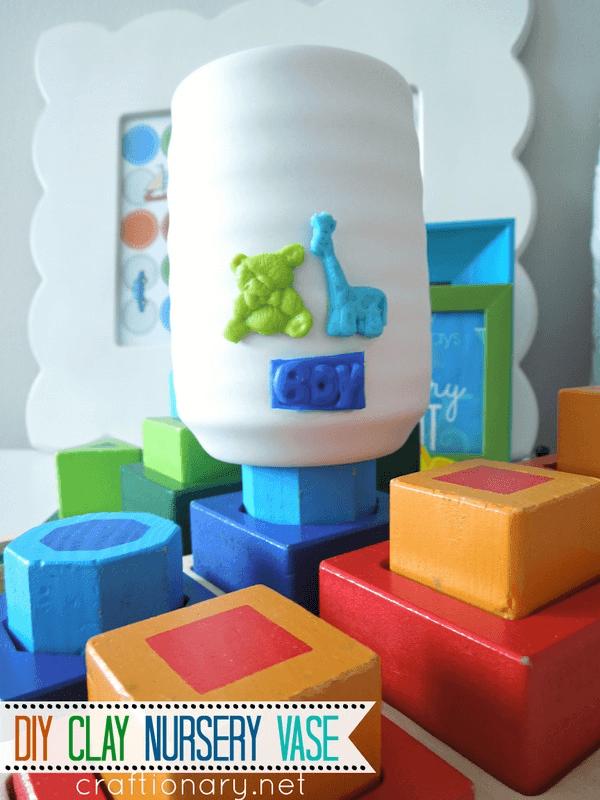 DIY clay vase tutorial baby boy nursery