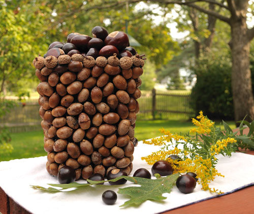 make acorn vase