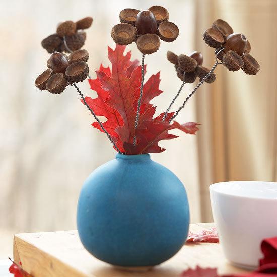 make acorn flower vase