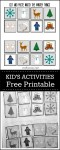 winter matching free printable for kids