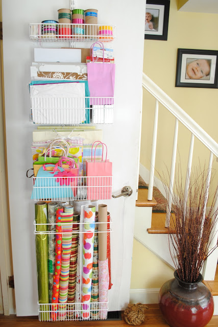 Gift wrapping guide - wrapping station on closet door