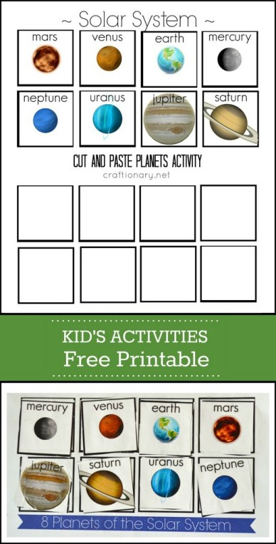 planets free printable cut and paste activity