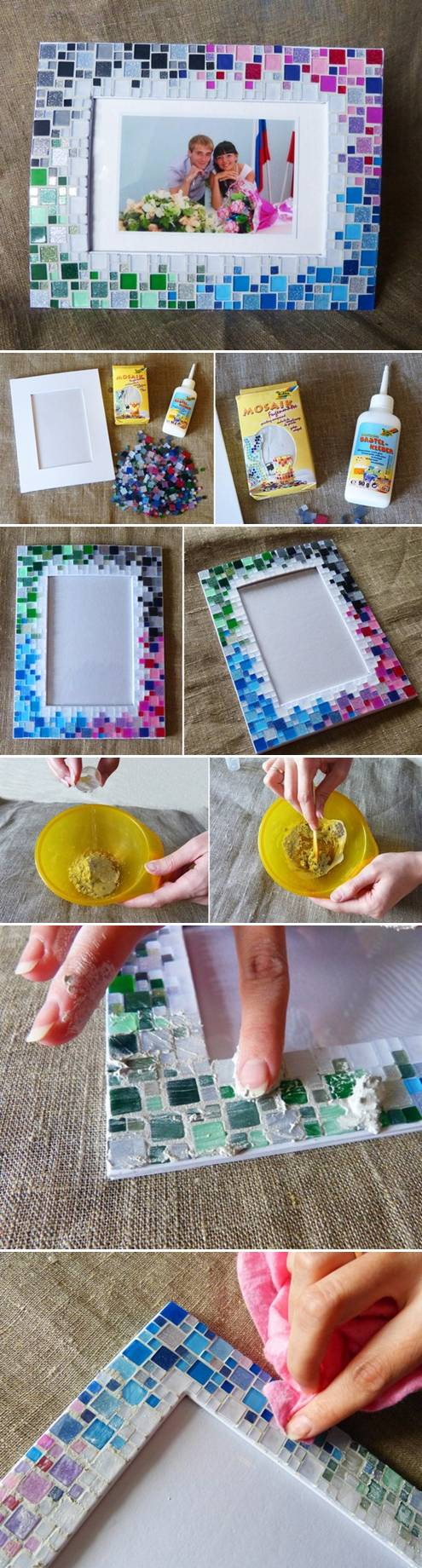 Diy picture frame ideas thinking outside the box simple yet elaborate looking create this super easy mosaic frame with the help of craftionary jeuxipadfo Gallery