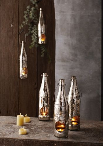 Wine bottles as decorative accents using mercury glass