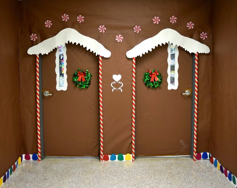 Twin ginger bread house christmas door