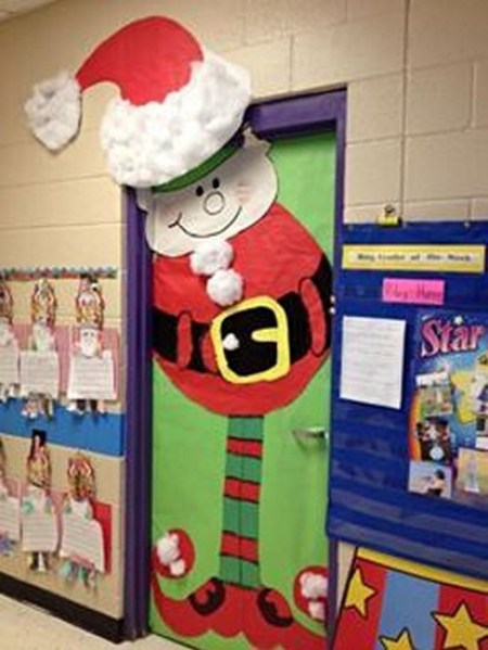 santa cum elf christmas door