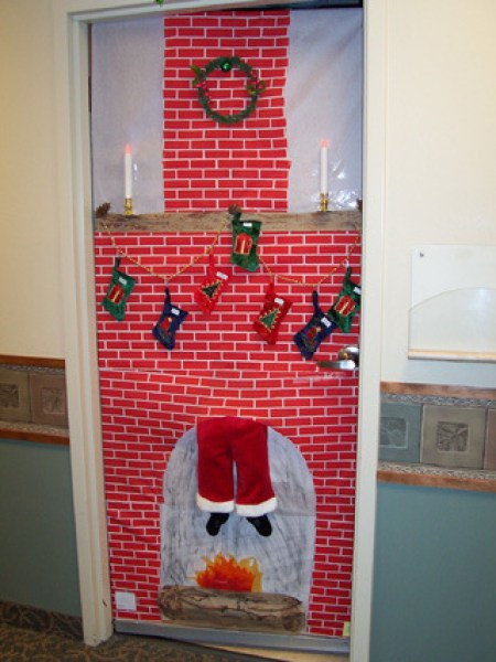 santa in chimney christmas door