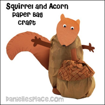 squirrel acorn paper bag craft