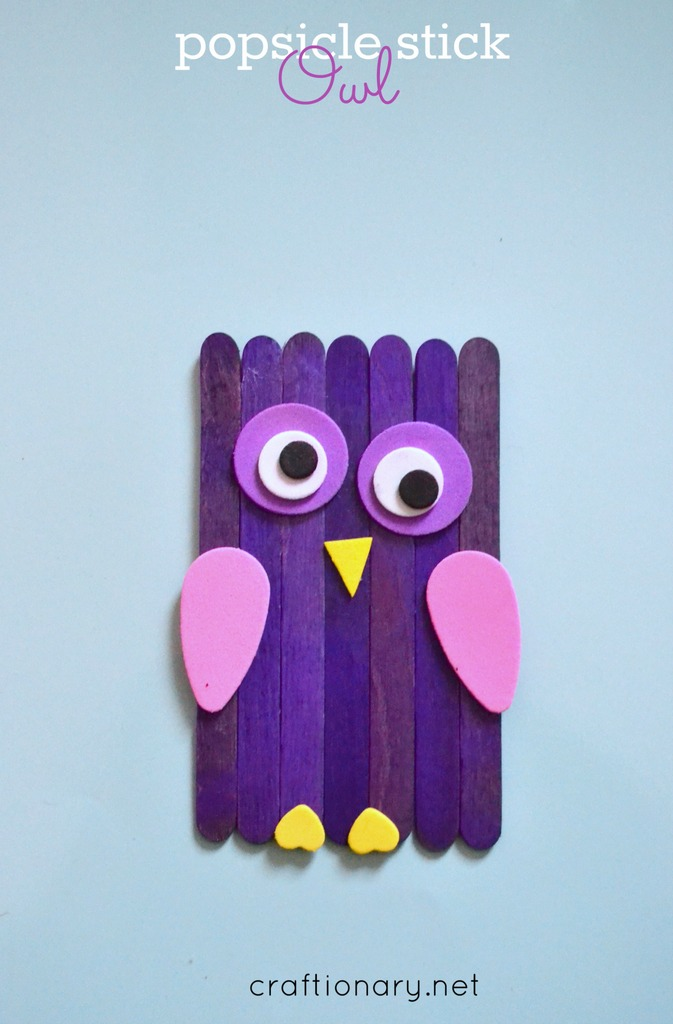 Popsicle sticks owls