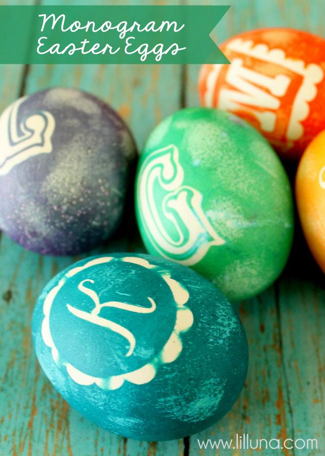monogram easter eggs dye