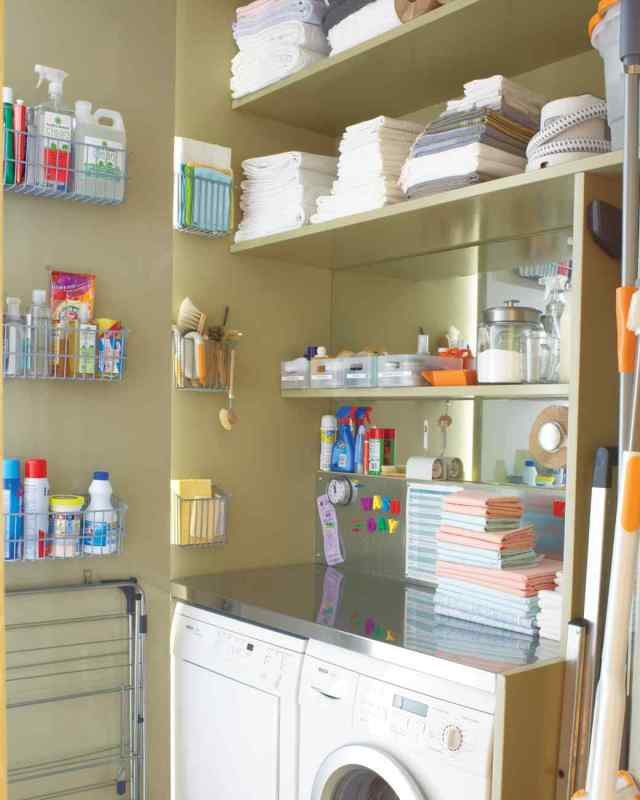 organized laundry room using shelves