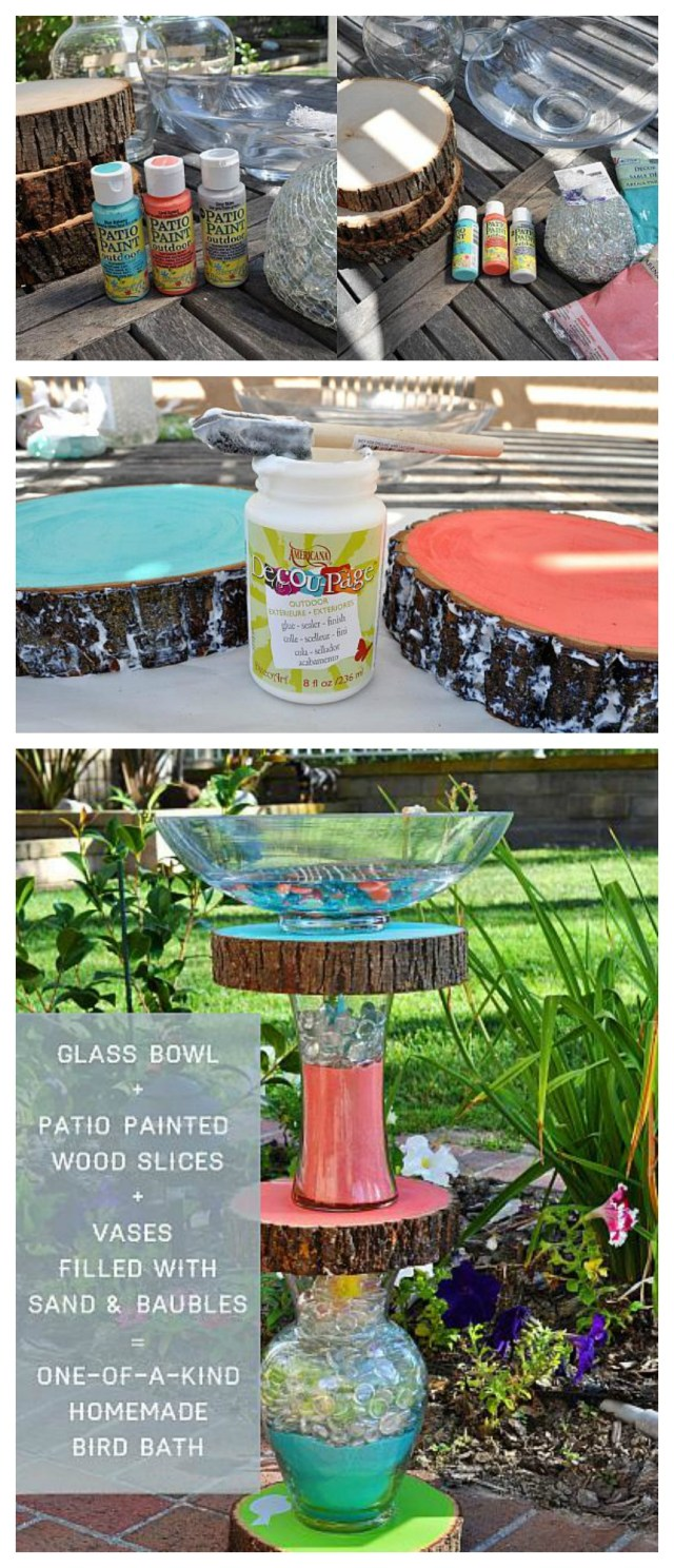 DIY homemade bird bath