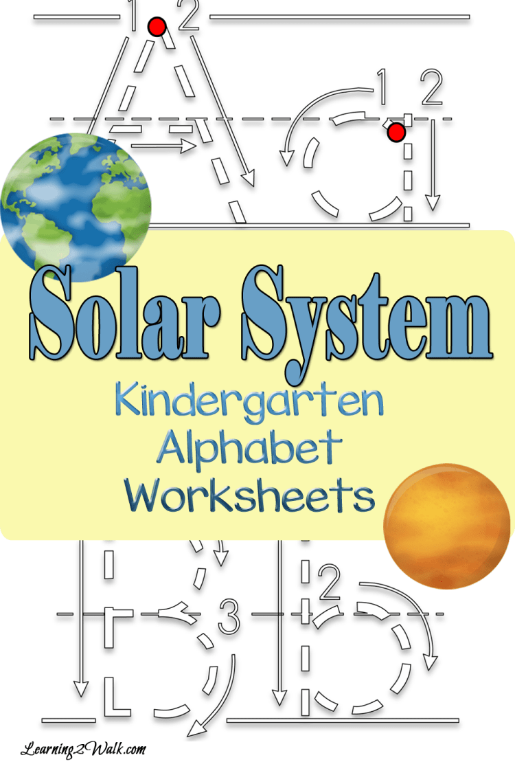 Solar System Alphabet Kindergarten worksheets