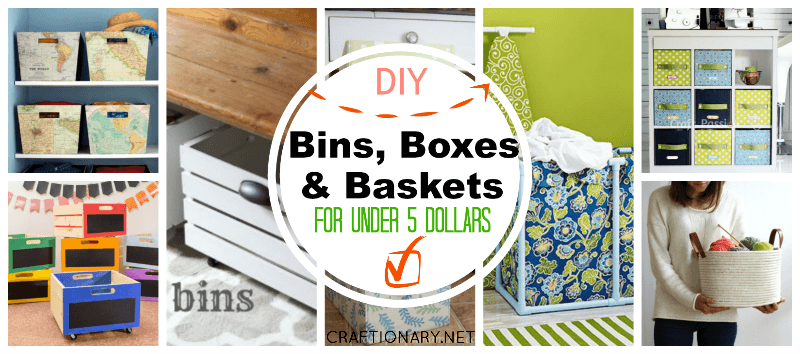 DIY bins boxes baskets for storage
