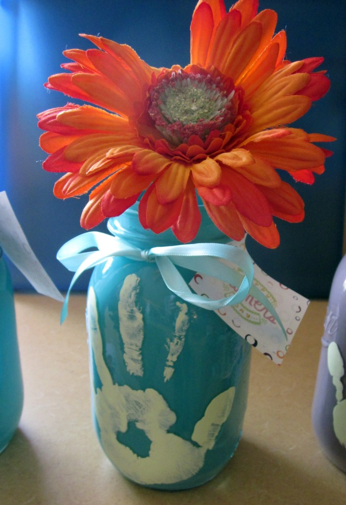 Hand print mother's day vase