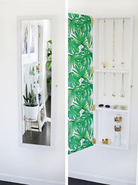 DIY mirror jewelry storage
