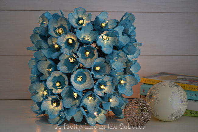 egg carton flowers lamp