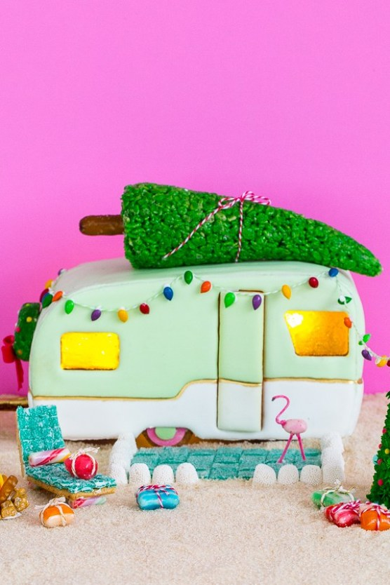 Gingerbread Retro Camper house
