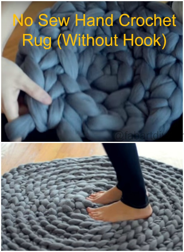 No Sew Hand Crochet Rug Without Crochet Hook