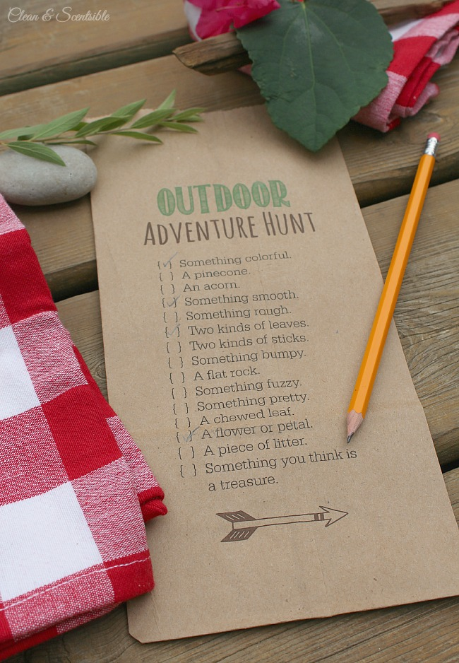 Outdoor scavenger hunt printable