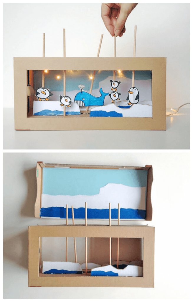 DIY-cardboard-box-puppet-show