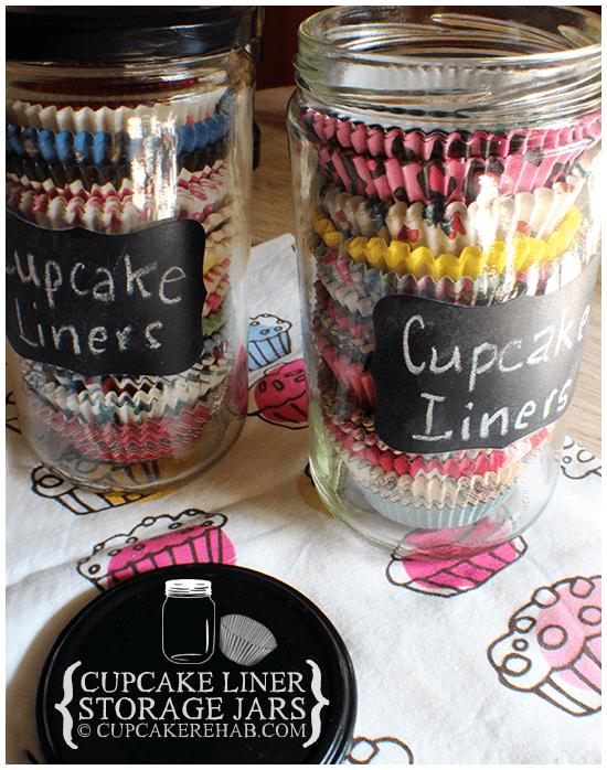 cupcake liner storage jars