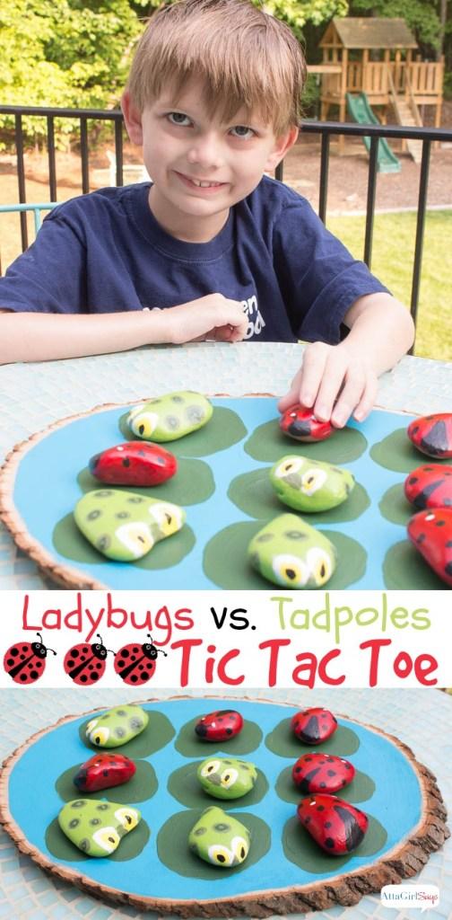 ladybugs versus tadpoles tic tac toe game