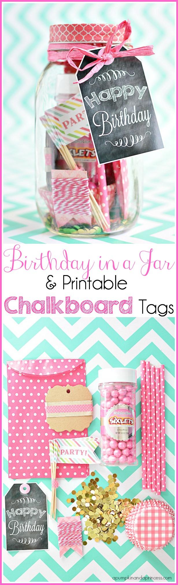 Mason jar birthday gift idea with printable tag